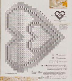 Photo from album Filet Crochet Charts, Crochet Motif, Crochet Designs, Crochet Doilies, Crochet Stitches, Crochet Patterns, Crochet Curtains, Crochet Tablecloth, Heart Patterns