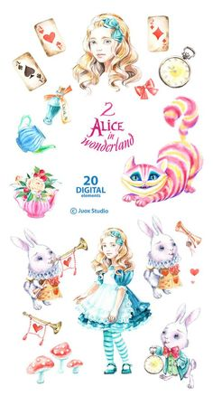 Alice in Wonderland 2 Watercolor Clipart Cheshire cat Party image 2 Clipart, Wonderland, Doodles, Printable Planner Stickers, Printables, Cat Party, Decoupage Paper, Free Prints, Cute Stickers