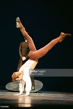 Russian-born American dancer Mikhail Baryshnikov performs in 'Appalachian Spring' (scored by Aaron Copland and choreographed by Martha Graham) at City Center, New York, New York, October 6, 1987.