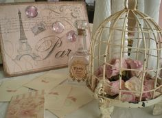 Birdcage Filled with Roses