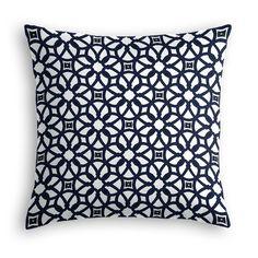 Navy Blue Floral Lattice Throw Pillow | Loom Decor