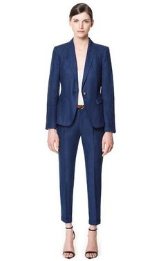 $39 Zara (Really Cool, Good with Heels) LINEN MARL TROUSERS-Navy