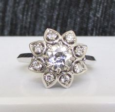 Vintage 18K White Gold Floral Diamond Cluster Ring - Unique and Stunning! GIA Appraisal Included 2,170 USD! by Ringtique on Etsy