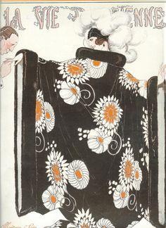 Original Art Deco Print 1922 Edition Of La Vie Parisienne French Fashion Magazine - Cover Print . Evening Coat