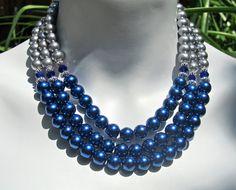 Bib Statement Necklace Glass Pearls Crystals Triple by PrairieIce