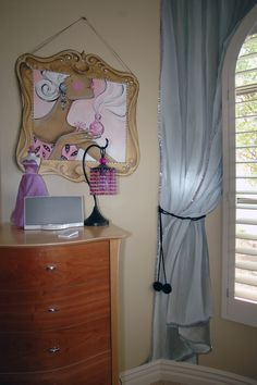 Funky fashion room by Carmen Illustrates. Here the drapery and picture frame were hand painted for a teenager's room.