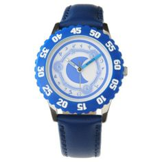 Kid's Adjustable Bezel Stainless Steel Blue Number Watch - diy cyo customize create your own personalize