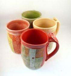 Unique coffee mugs set of four, large ceramic mugs, unique coffee mugs, pottery cups,  16-20 ounce  teacups handmade pottery mug