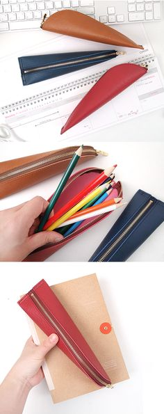 A trendy way to show your style with function intact! Hold your make up, pens, and other necessities in the one-of-a-kind Leather Triangle Shape Pen Case.