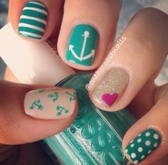 50 easy nail art designs for women 2015 Great Nails, Perfect Nails, Love Nails, How To Do Nails, My Nails, Nail Art Designs 2016, Simple Nail Art Designs, Cute Nail Designs, Easy Nail Art