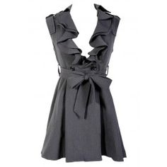 Ruffle Collar Belted Waist Dress in Charcoal