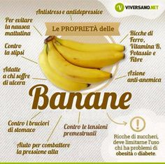 Le proprietà delle Banane - The properties of Bananas - Salute e Alimentazione Healthy Tips, Healthy Recipes, Health And Wellness, Health Fitness, Healthy Fruits, Superfood, Food Hacks, Natural Health, Real Food Recipes