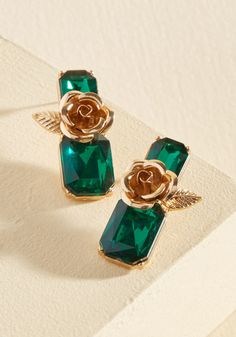 Exception to the Jewel Earrings. Most of the faux-gemstone earrings in your collection are total classics, but this emerald-inspired pair is utterly unique!  #modcloth