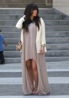 Chiffon dress paired with cream blazer and rose gold watch for accessories.