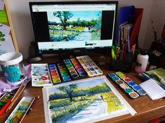 Simple painting of nature scenery - hay bales watercolors