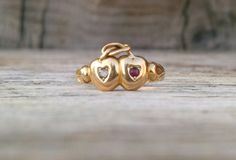 Victorian 18k Gold Double Heart Engagement Ring Love Knot 1800's Wedding Band
