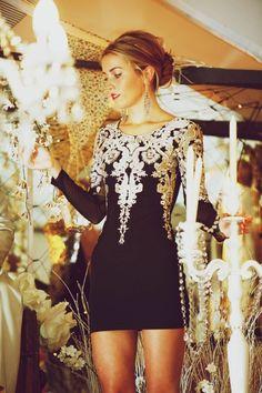 7e8e130ae2ee9 jolie robe pour le nouvel an, robe de soire noire Robe Brodé, Petite Robe