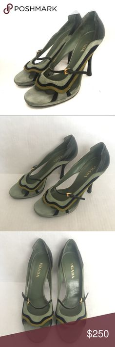 """PRADA fairy collection wave heels, rare find PRADA suede and leather heels. From the 2008 spring fairy collection. Extremely rare and hard to find. Open, peep toe. Sea-foam green, lime and navy waves. Mary Jane style strap with gold buckle. Approximately a 4"""" heel. Preloved, they show normal/minor wear. See photos. Prada size 41 Prada Shoes Heels"""
