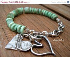 ON SALE Sterling Silver Heart Charm Bracelet    by SimpleeSilver, $109.23