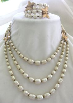 Miriam Haskell Vintage Pearls & Butterfly Necklace & Bracelet