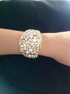 Gold bracelet, Crystal Bracelet, bride brecelet, Swarovski Crystal bracelet, big bracelet,birthday gift,mom gift by PassionByMaya on Etsy