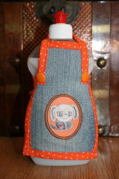 Spüli Schürze Dekoration für Spülmittelflaschen orange