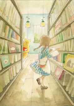 Winnie' bookstore「くまのほんやさん」/「タッシェ」のイラスト [pixiv]