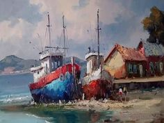 Deserts Of The World, Beach Watercolor, Boat Art, Boat Design, Model Ships, Beautiful Landscapes, Sailing Ships, Lighthouse, Fine Art