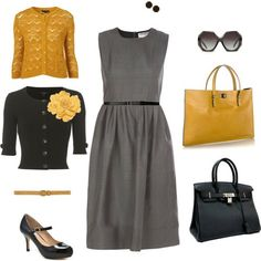 I need a basic dress like this for work...you can do so many different things with it!  And I love th black and yellow.