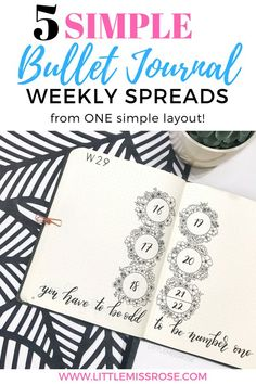 If you get stuck for ideas when creating your bullet journal weekly spreads, check out this article for 5 simple bullet journal weekly spreads from one simple layout! #bulletjournal #bujo #bulletjournalweeklyspread #weeklyspread