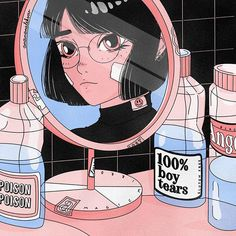 and that's okay 🖤 anime aesthetic by Ana Aleksov 🖤 Cartoon Kunst, Cartoon Art, Art And Illustration, Aesthetic Art, Aesthetic Anime, Korean Aesthetic, Peach Aesthetic, Aesthetic Makeup, Vapor Art
