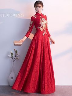Winter Floor-Length Vintage inspired Party Embroidered Chinese Red Wedding Dresses Wedding Dress Brands, Wedding Dresses For Sale, Wedding Dreams, Dream Wedding, Evening Dresses, Formal Dresses, Chinese Style, Wedding Colors, Vintage Inspired