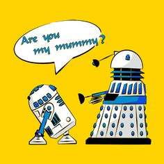 What if the daleks were traveling in another galaxy far far away? R2D2 and a Dalek on a T-shirts and baby onesie at Snappy Kid.