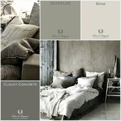 Bekijk de foto van Pure & Original met als titel MOODboard. Inspired BY COLOR With Pure & Original colors. Lime Paint, Chalk Paint and much more. Grey Bedroom Paint, Bedroom Colors, Castle Stones, Messy Bed, Living Colors, Lime Paint, Traditional Paint, Modern Rustic Decor, Living Room On A Budget