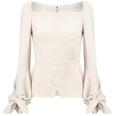 Roland Mouret Wicklow Top (4.600 RON) ❤ liked on Polyvore featuring tops, long-sleeve, neutral, square neck top, ruched top, bell sleeve tops, square neckline tops and pink top