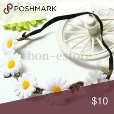 2 pc girls headband 1 polka dot lace flower headband (blk/red) 1 white daisy headband Accessories Hair Accessories