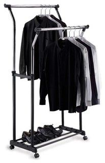 Portable Double Adjustable Garment Organizer Rack Shelf Clothes Hanger New