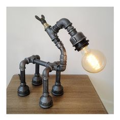 Robot horse table lamp Pipe lamp / Iron by HandMadeProjects4u