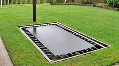 My boys want a trampoline so badly. I love the idea of an inground trampoline for them to play on. Rectangle Trampoline, Sunken Trampoline, In Ground Trampoline, Best Trampoline, Backyard Trampoline, Trampoline Ideas, Professional Trampoline, Outdoor Spaces, Outdoor Decor