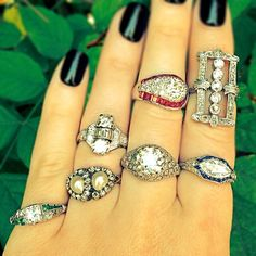 #Wedding Wednesdays! A few of our #vintage #engagementrings for the #bride who wants to rock a unique #ring! #CraigEvanSmall #diamonds #weddingring #vintagering #ruby #emerald