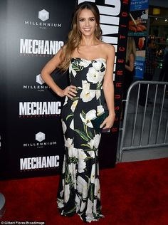 Jessica Alba wows in a floral gown for Hollywood premiere of Mechanic: Resurrection   Daily Mail Online