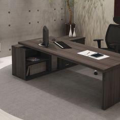 Mesa com tampo duplo para ser o destaque da sala executiva. by RS Design