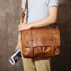 Genuine Leather Handmade Briefcase, Business Shoulder Bag GLT052