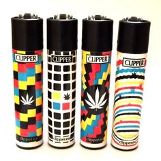 4 x CLIPPER FLINT LIGHTERS COOL OPTICAL WEED CANNABIS HERB LEAF GAS LIGHTER