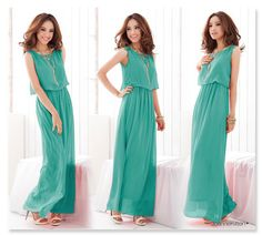 Chiffon Cotton Long Summer Dress/4 Colors Avail.