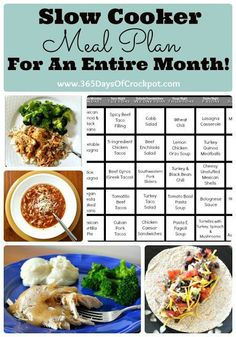 Slow Cooker Meal Plan for an Entire Month!