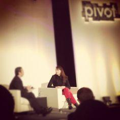 Sephora's Bridget Dolan rocking red pants. photo c/o @Denmark Francisco