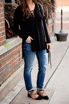 Lace up tops, sweaters, shoes... you name it! This fall season is all about the lace ups. I was a little hesitant (as I sometimes can be) a...