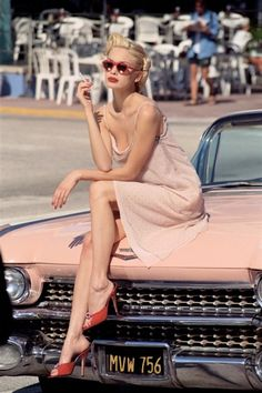 Bill King photography - Oh my I wanna be her! Pink Cadillac vintage babe.