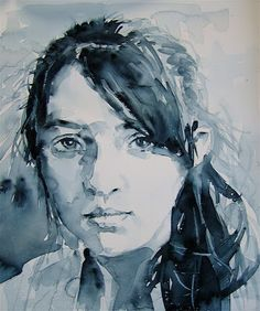 David Lobenberg: BEAUTIFUL B@W WATERCOLOR PORTRAIT STUDIES!